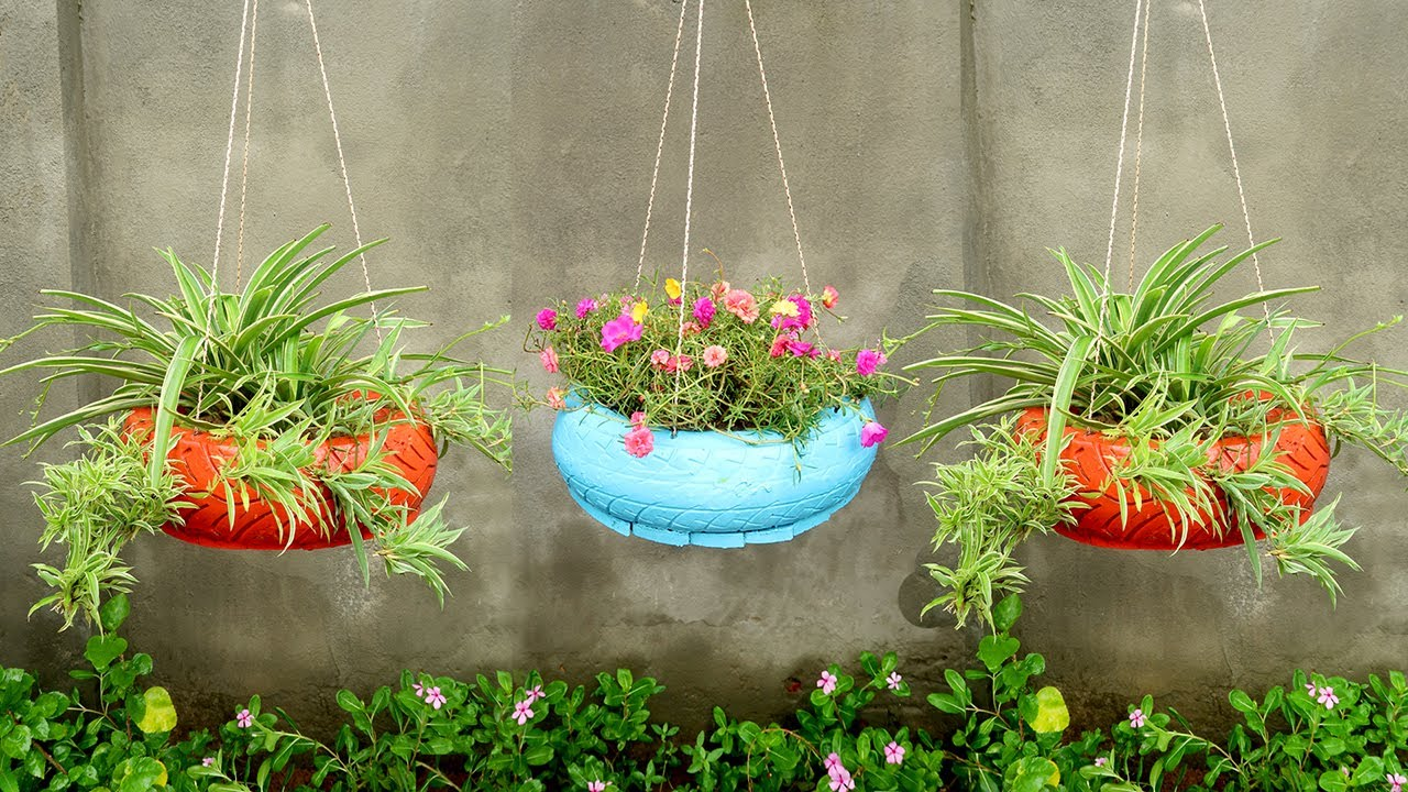Amazing Hanging Garden from Recycled Old Tires, Gardening Ideas for Home
